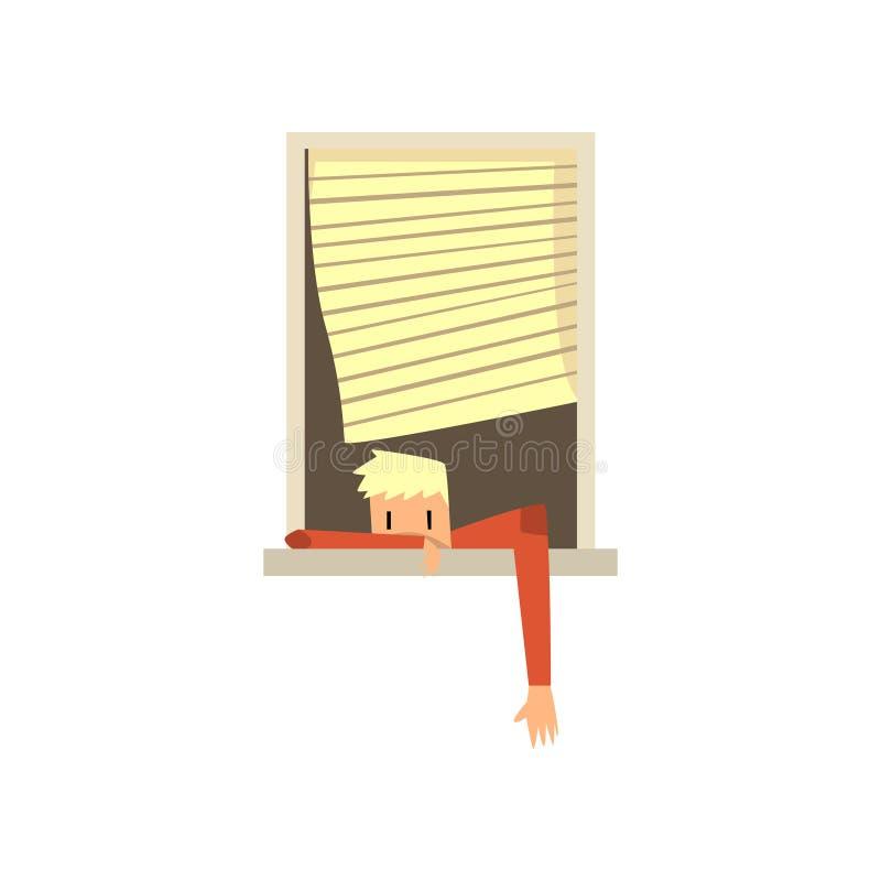 El individuo joven que miente en ventana con el suyo distribuye Persiana que mueve encendido el viento Adolescente rubio de la hi ilustración del vector