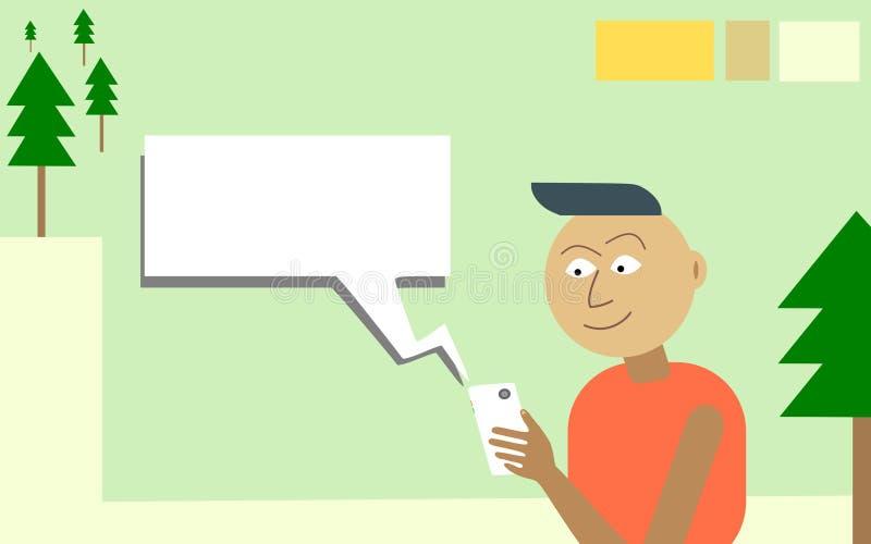 El individuo utiliza el App móvil con grandes entusiasmo e impaciencia stock de ilustración