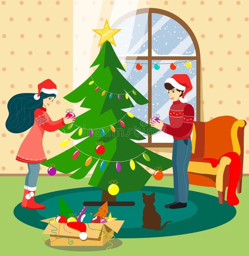 El individuo y la muchacha adornan el árbol de navidad en casa juntos en un cuarto acogedor con un gato, y está nevando fuera de  ilustración del vector