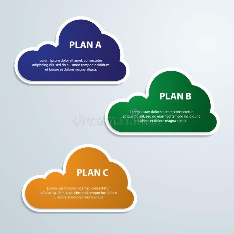 El infographics de las nubes tres colores etiqueta el ejemplo del vector libre illustration