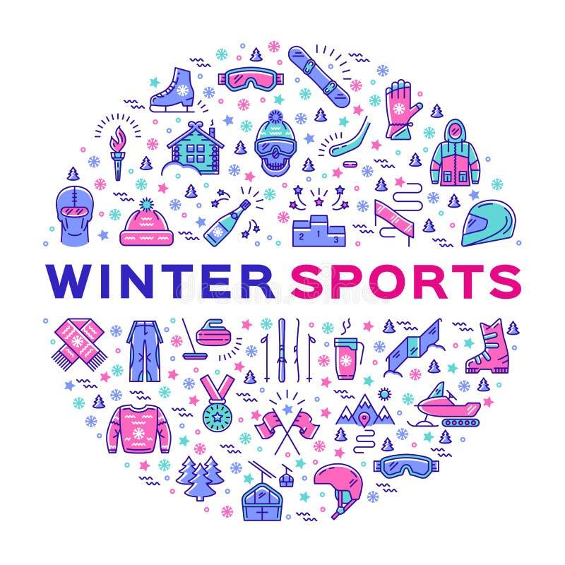El infographics de los deportes de invierno, colorea la línea fina iconos, ropa y equipo stock de ilustración