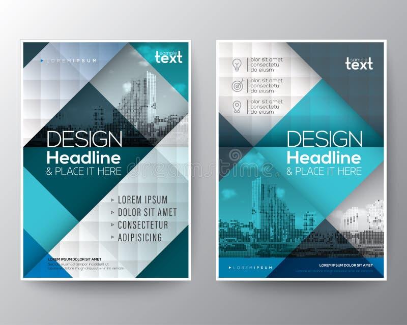 El informe anual del folleto del azul y del trullo cubre la disposición de diseño del cartel del aviador ilustración del vector