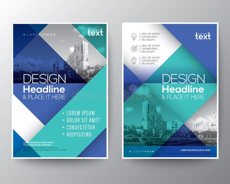 El informe anual del folleto del azul y del trullo cubre la disposición de diseño del cartel del aviador stock de ilustración