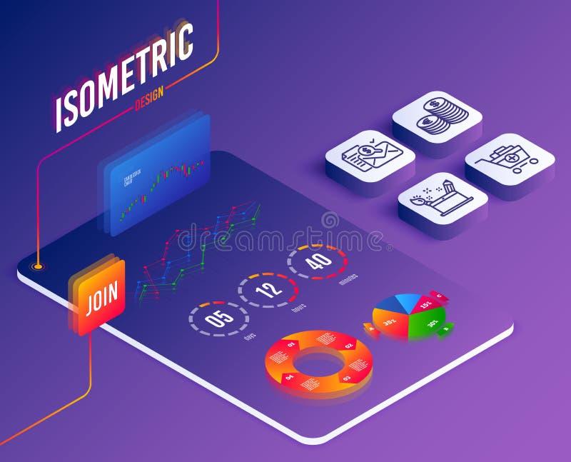 El informe de la contabilidad, moneda y añade iconos de los productos Muestra del concepto de la creatividad Vector stock de ilustración
