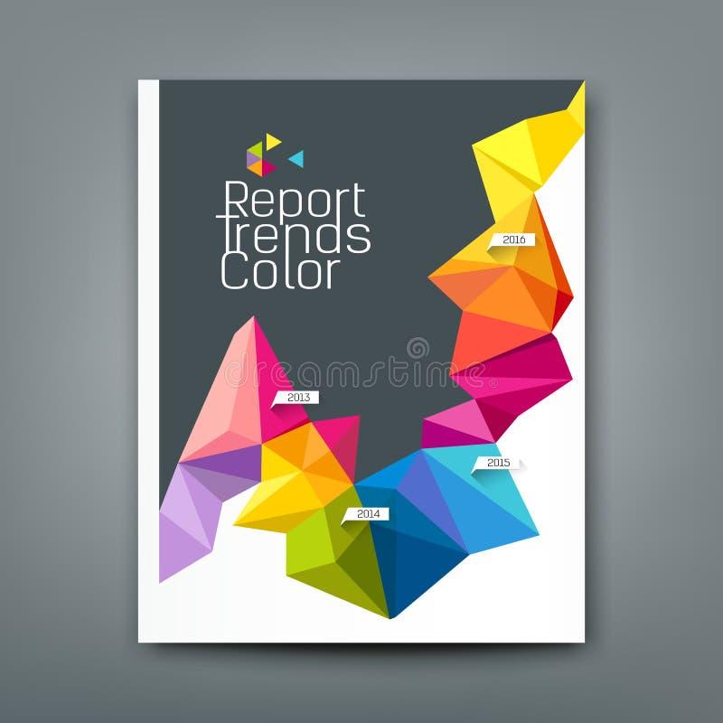 El informe de la cubierta tiende diseño geométrico colorido del año libre illustration
