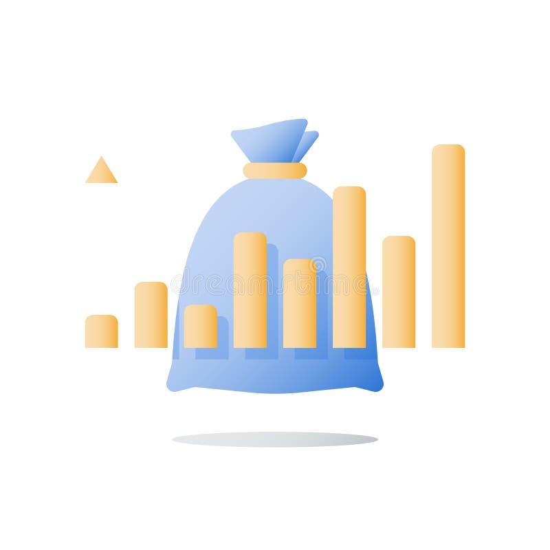 El informe de rendimiento financiero, tipo de inter?s alto, multiplica el capital, renta futura, tendencia positiva, gr?fico asce ilustración del vector