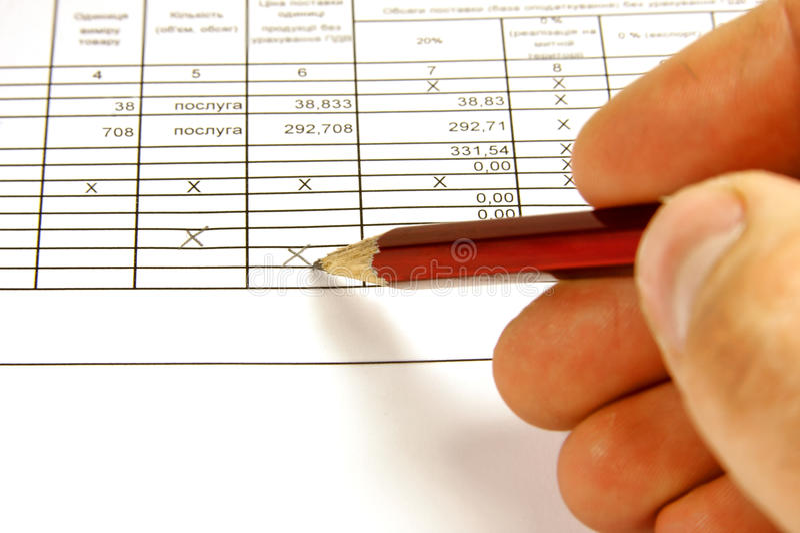 El informe financiero foto de archivo