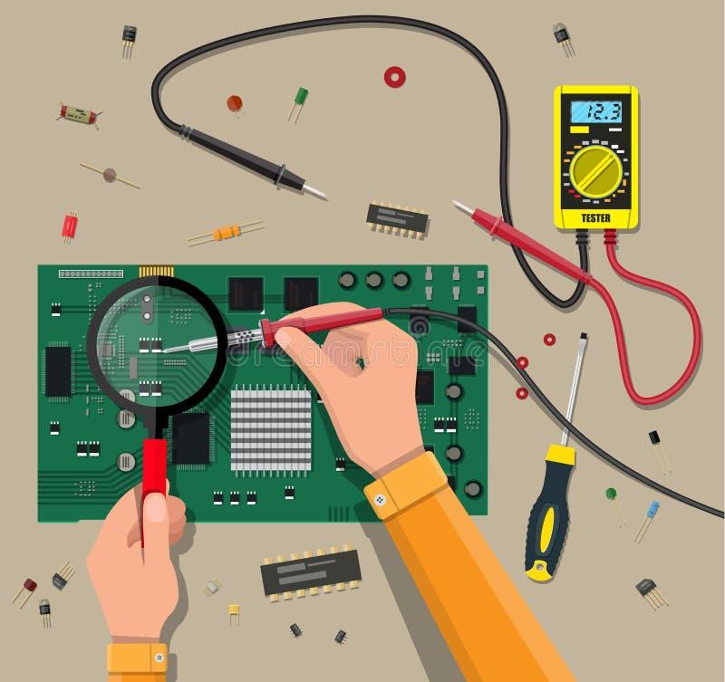 El ingeniero con el multímetro comprueba la placa madre libre illustration