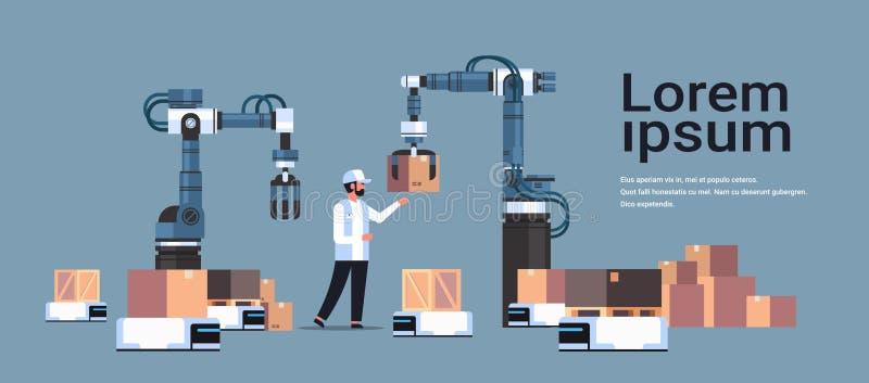 El ingeniero del hombre que controla las manos robóticas que ponen las cajas en producto del coche del robot entrega concepto de  ilustración del vector