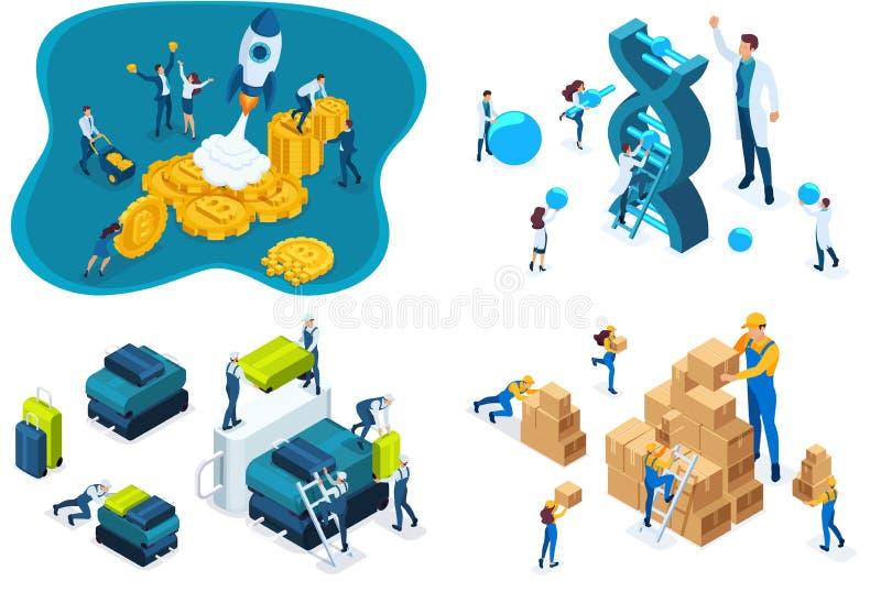 El inicio isométrico fijado del concepto, trabajo del almacén, trabajo del aeropuerto, científicos estudia la estructura de la DN ilustración del vector