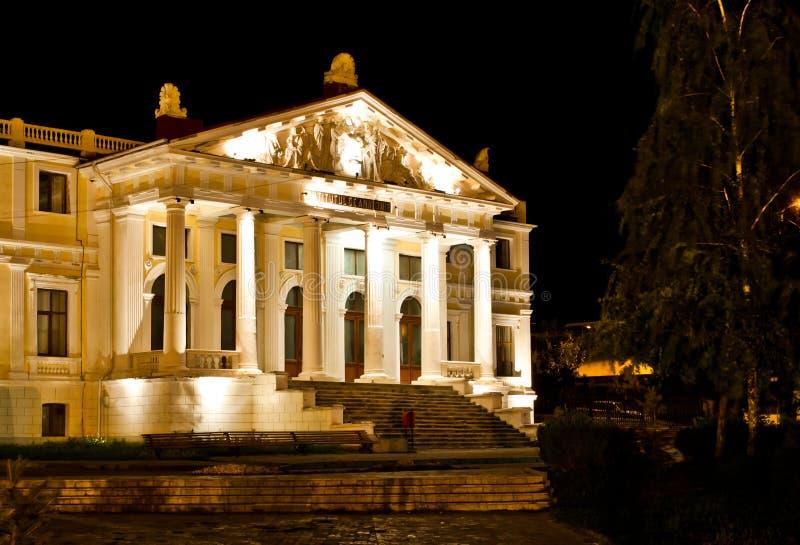 El instituto en la noche en Iasi, Rumania de la anatomía fotografía de archivo