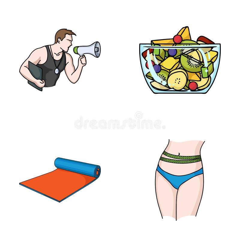 El instructor personal, ensalada de fruta, estera, los iconos determinados de la colección de Fitnes de la cintura femenina en es libre illustration