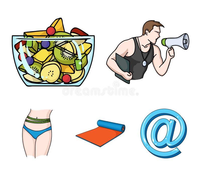 El instructor personal, ensalada de fruta, estera, los iconos determinados de la colección de Fitnes de la cintura femenina en es stock de ilustración