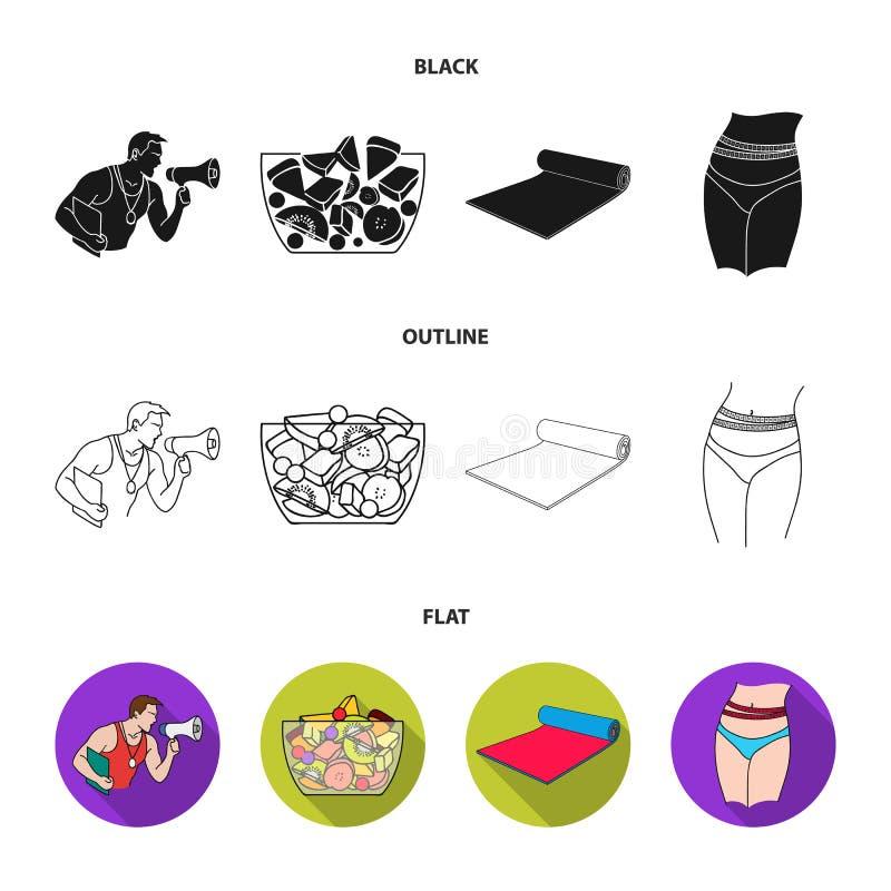 El instructor personal, ensalada de fruta, estera, los iconos determinados de la colección de Fitnes de la cintura femenina en es ilustración del vector
