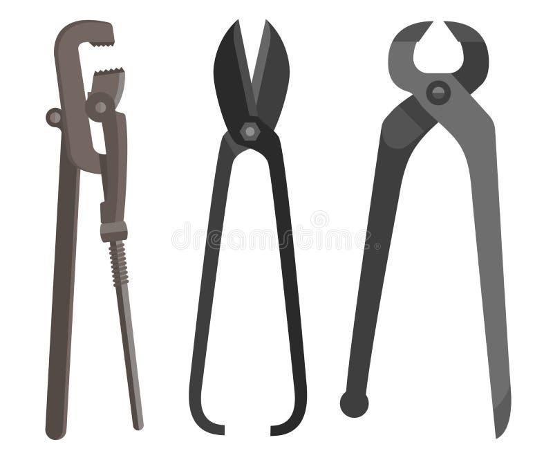 El instrumento para la llave inglesa difícil del trabajo scissors las tenazas completamente imagenes de archivo