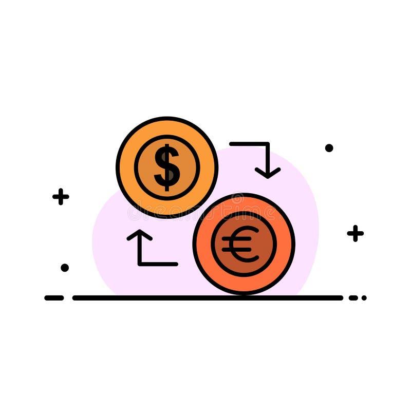 El intercambio, monedas, moneda, dólar, euro, finanzas, financieras, línea plana del negocio de dinero llenó la plantilla de la b stock de ilustración