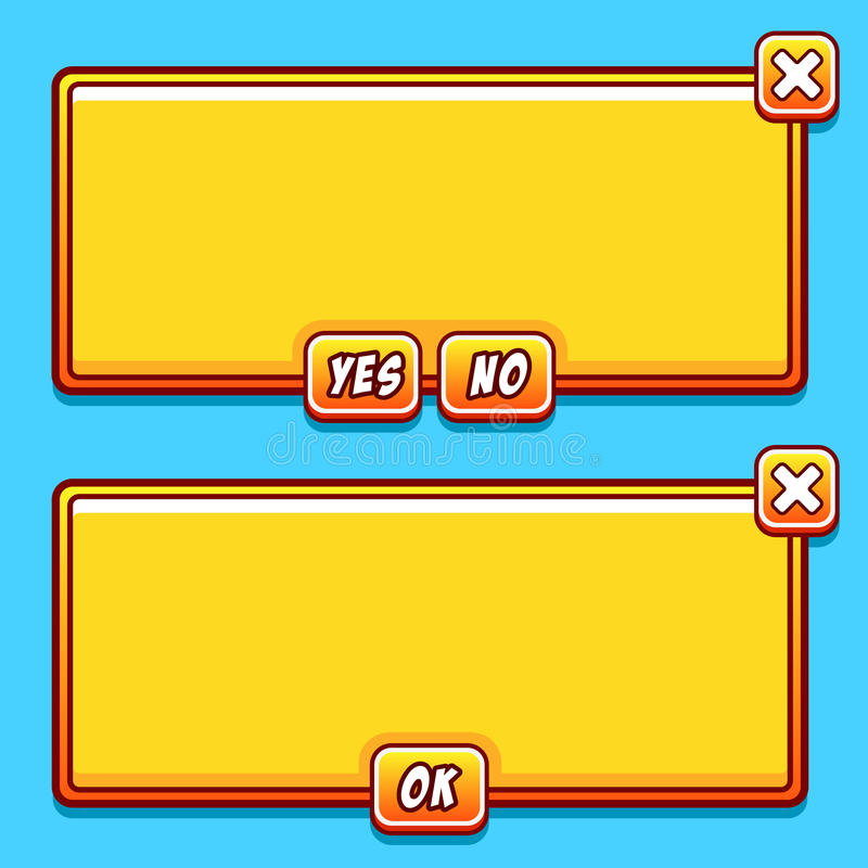 El interfaz amarillo del juego artesona los botones del ui stock de ilustración