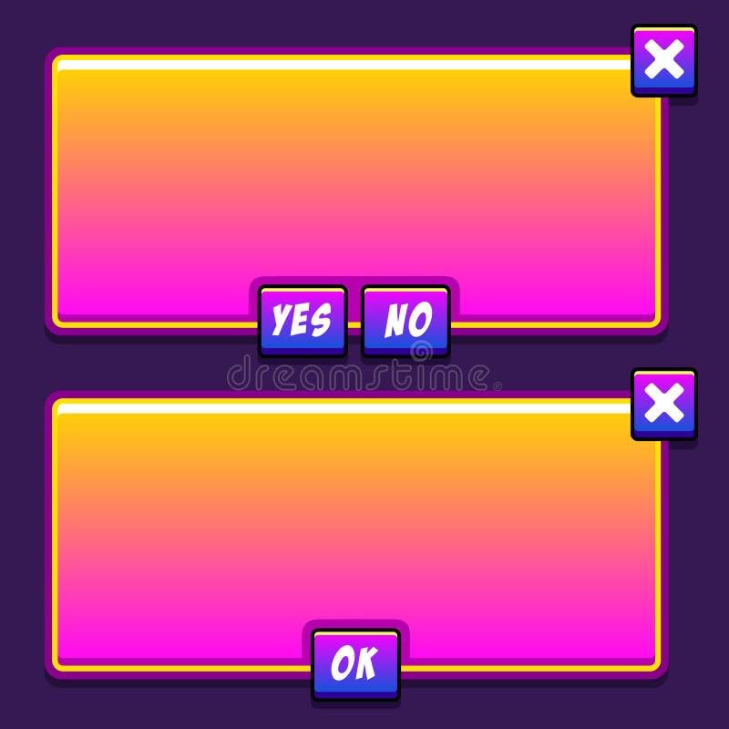 El interfaz del juego del espacio artesona los botones del ui libre illustration