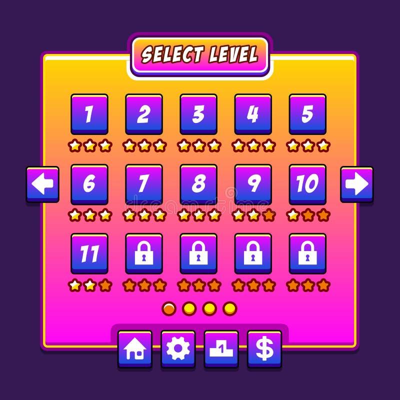 El interfaz del nivel del menú del juego del espacio artesona ui stock de ilustración