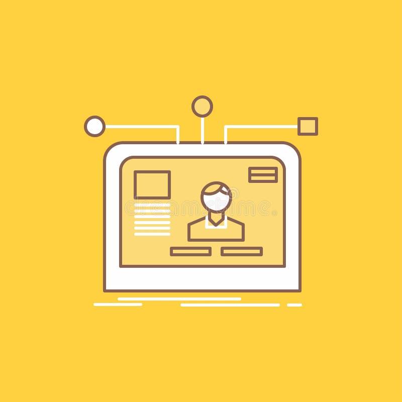 el interfaz, página web, usuario, disposición, línea plana del diseño llenó el icono r stock de ilustración