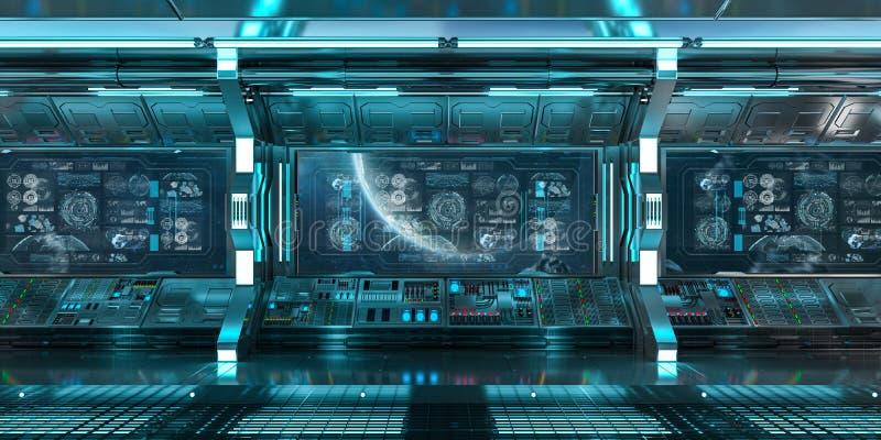 El interior azul de la nave espacial con el panel de control defiende la representación 3D stock de ilustración