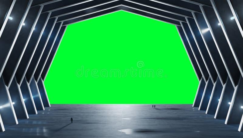 El interior azulado enorme de la nave espacial del pasillo aisló la representación 3D libre illustration