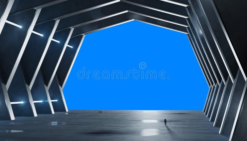 El interior azulado enorme de la nave espacial del pasillo aisló la representación 3D ilustración del vector
