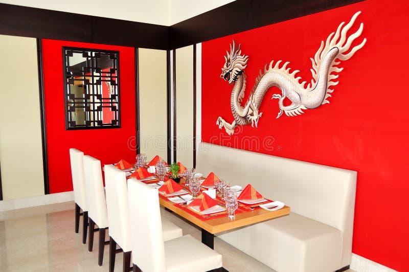 El interior chino del restaurante del hotel de lujo fotografía de archivo libre de regalías