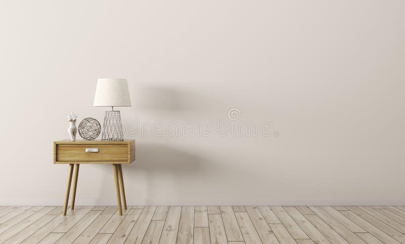 El interior con la tabla lateral de madera 3d rinde stock de ilustración