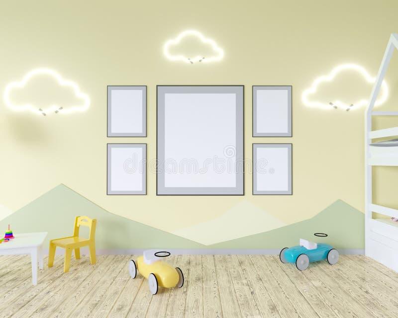 El interior con un pesebre, nube del sitio formó lámparas y un juguete Paredes azules Concepto de minimalismo representación 3d M ilustración del vector