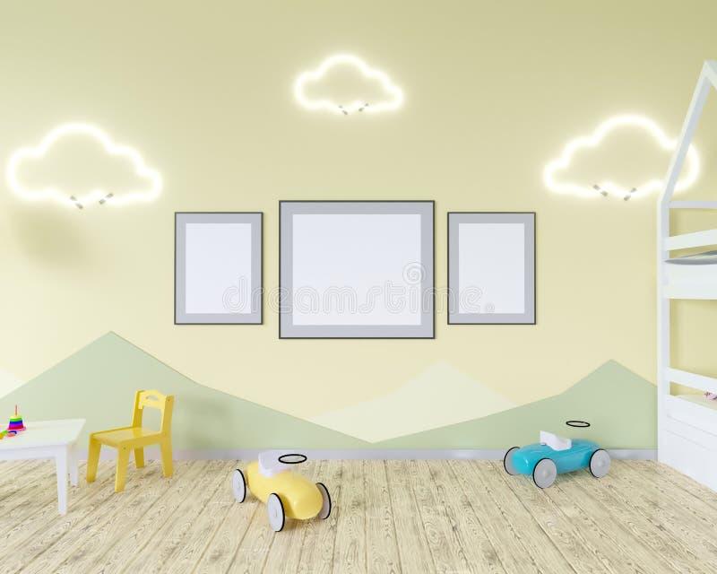 El interior con un pesebre, nube del sitio formó lámparas y un juguete Paredes azules Concepto de minimalismo representación 3d M stock de ilustración
