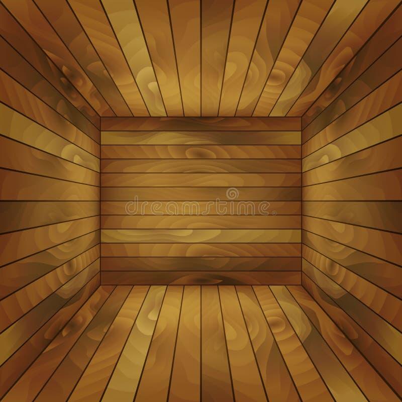 El interior de la caja de madera para el contenido de la exhibición Ilustración del vector stock de ilustración