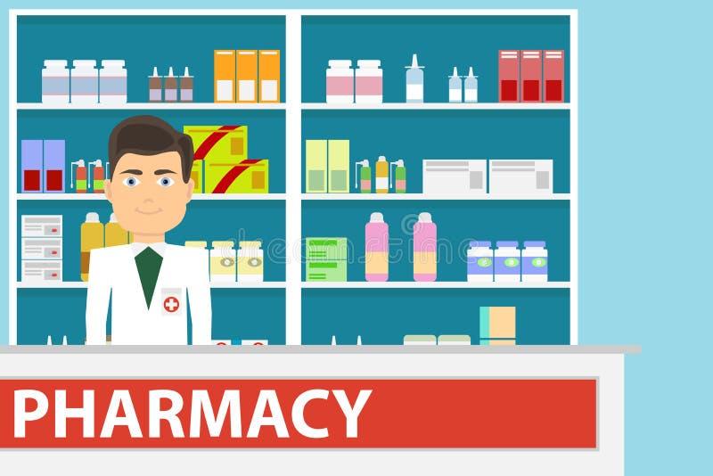 El interior de la farmacia con las medicinas en los estantes farmacia libre illustration