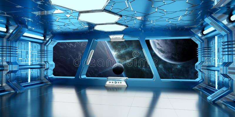 El interior de la nave espacial con la opinión sobre el sistema distante 3D de los planetas rinde stock de ilustración