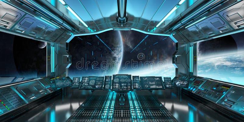 El interior de la nave espacial con la opinión sobre el sistema distante 3D de los planetas rinde libre illustration