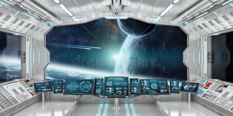 El interior de la nave espacial con la opinión sobre el sistema distante 3D de los planetas rinde ilustración del vector