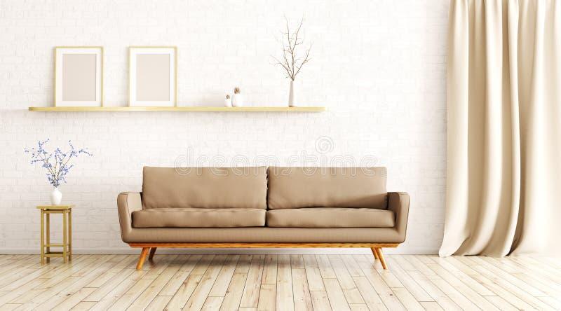 El interior de la sala de estar con el sofá 3d rinde stock de ilustración
