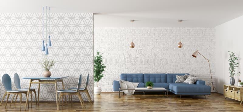 El interior de la sala de estar con el sofá y tabla y las sillas 3d rinden ilustración del vector