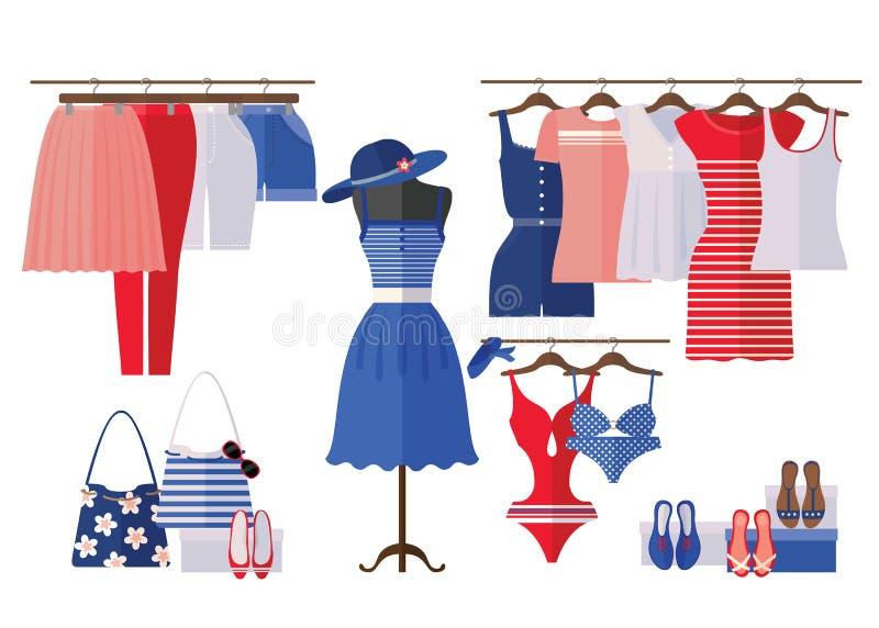 El interior de la tienda de ropa de las mujeres con verano viste en estilo plano libre illustration