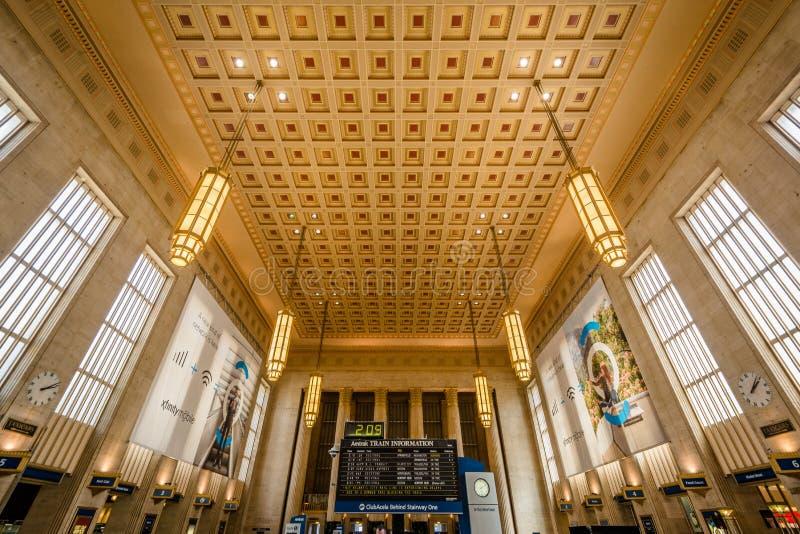 El interior de la trig?sima estaci?n de la calle, en Philadelphia, Pennsylvania imagen de archivo libre de regalías
