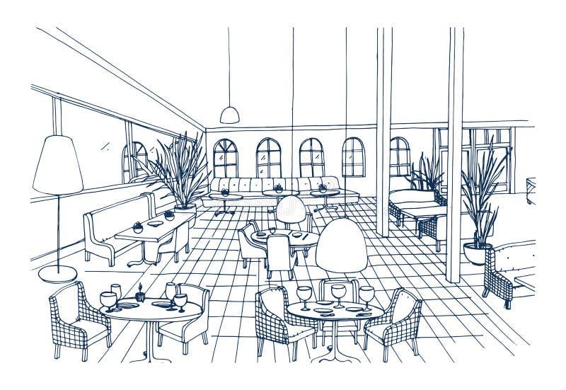 El interior de lujo del restaurante o del café con el piso a cuadros y el mobiliario elegante dan exhausto en colores blancos y n stock de ilustración