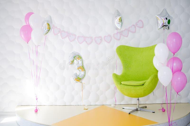 El interior de una fiesta de cumpleaños del ` s del niño fotos de archivo libres de regalías