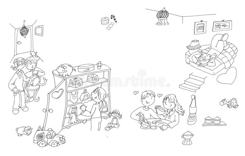 El interior de una vida casera de la muchacha alta en la muchacha de la cama abre su armario, y los abuelos vienen visitarla libre illustration