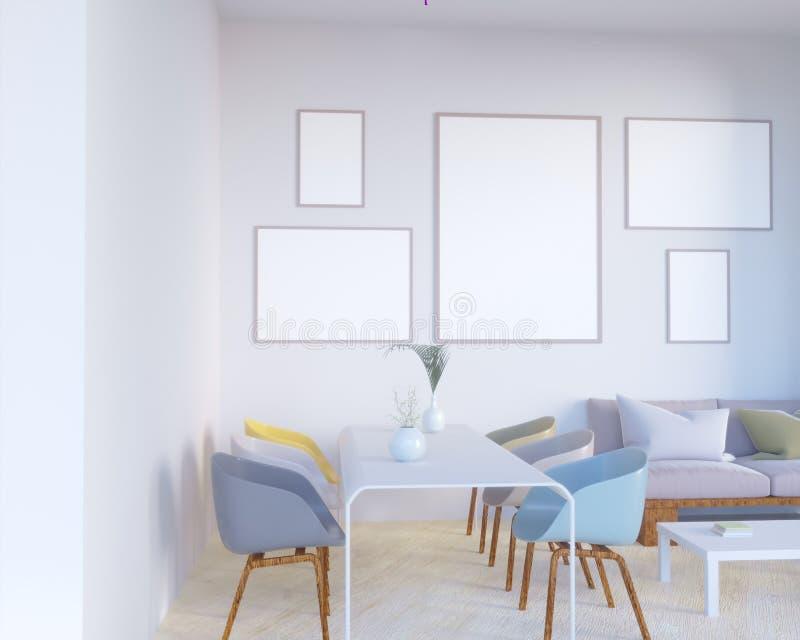 El interior del concepto, imita encima del cartel en la pared, ejemplo 3d rinde, representación, retra, sitio, escandinavo stock de ilustración