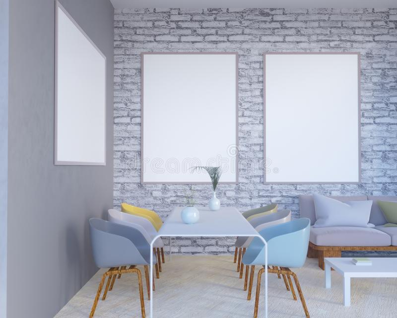 El interior del concepto, imita encima del cartel en la pared, ejemplo 3d rinde, representación, retra, sitio, escandinavo libre illustration