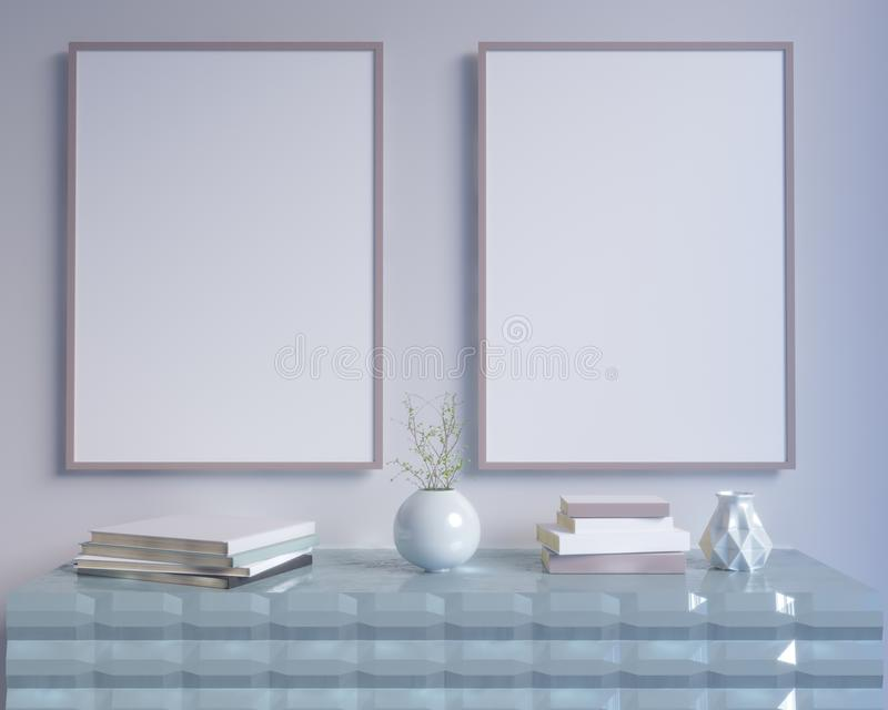 El interior del concepto, imita encima del cartel en la pared, ejemplo 3d rinde, representación, retra, sitio, escandinavo ilustración del vector