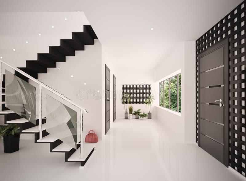 El interior del hall de entrada moderno 3d rinde ilustración del vector