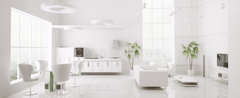 El interior del panorama moderno 3d del apartamento rinde stock de ilustración
