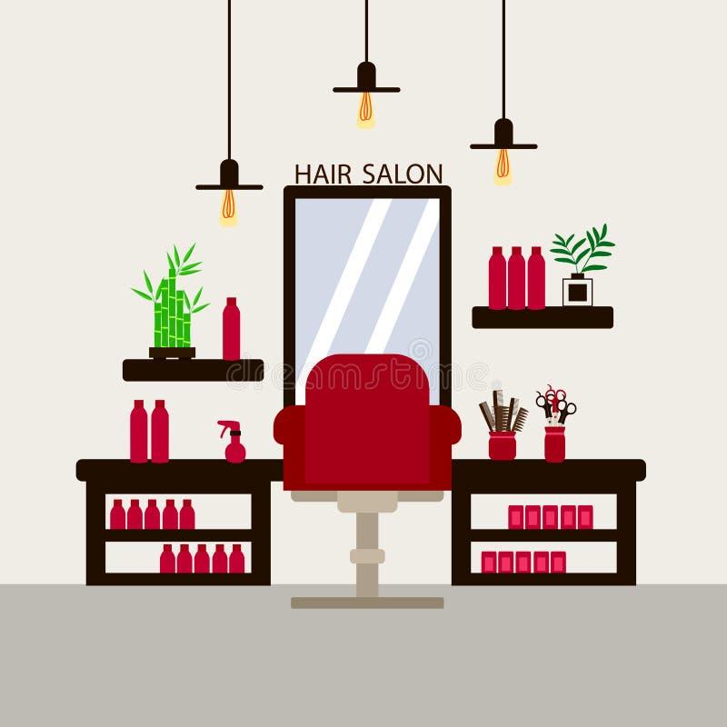 El interior del salón de belleza de peluquería, el sillón rojo y el espejo con fondo claro ilustración del vector