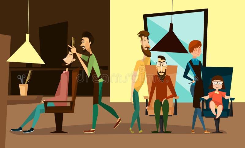 El interior del salón de pelo con los peluqueros y los clientes incluyen a niños Ejemplo de la historieta del vector del salón de libre illustration